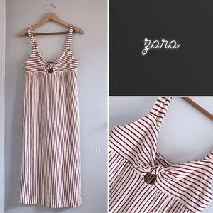 Zara Striped Peek-a-Boo Midi Dress